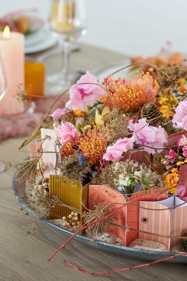 Modern autumn table decoration